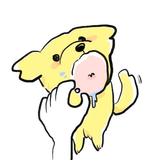 狗狗吃零食的插圖