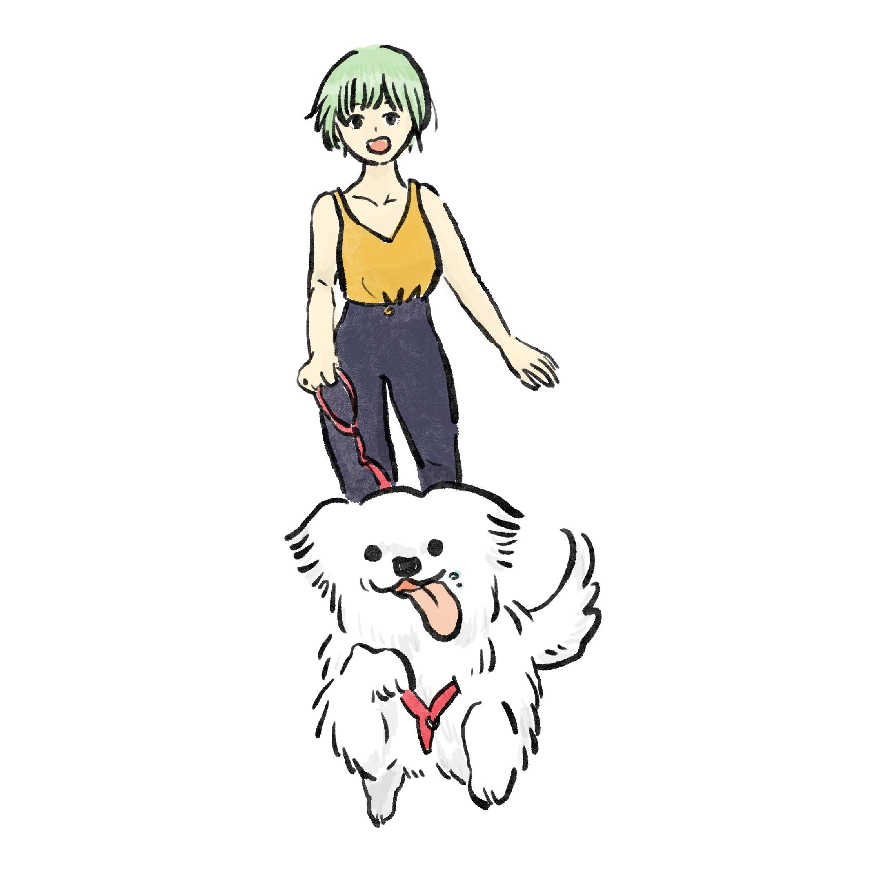 狗狗散步的插圖創作
