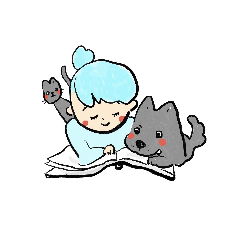寵物與主人一起閱讀的插畫創作