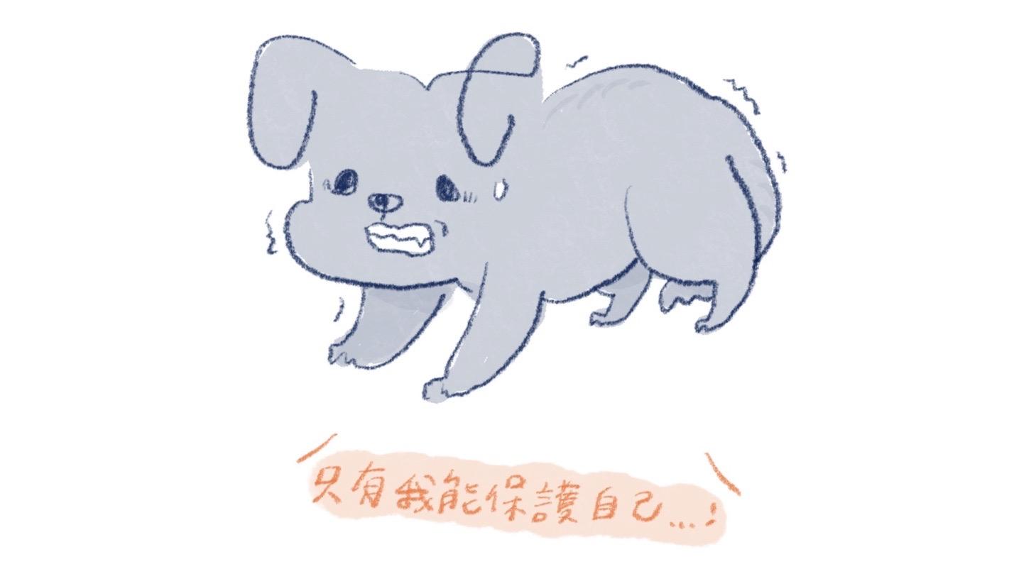 有攻擊行為的害怕犬插圖