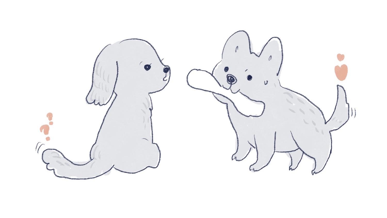 狗狗認識朋友的插畫