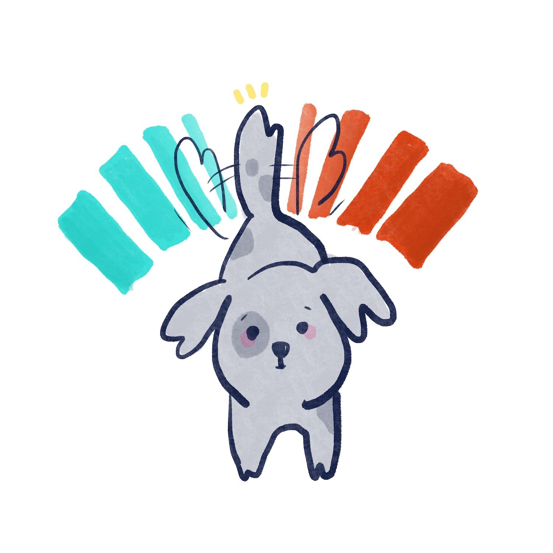 狗狗搖尾巴的插圖