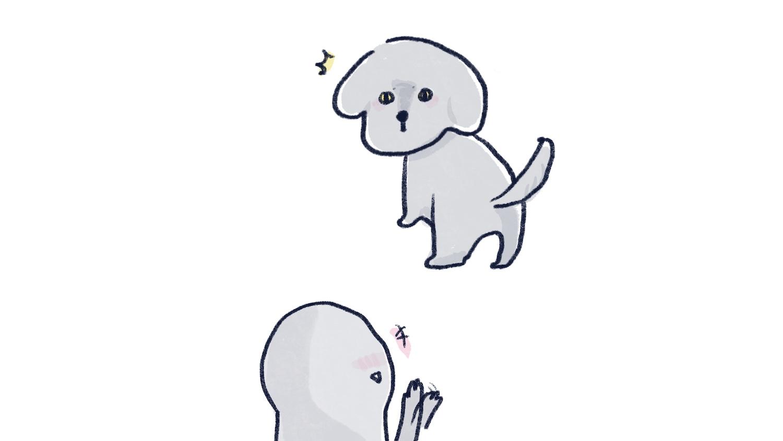 認識陌生狗狗的卡通