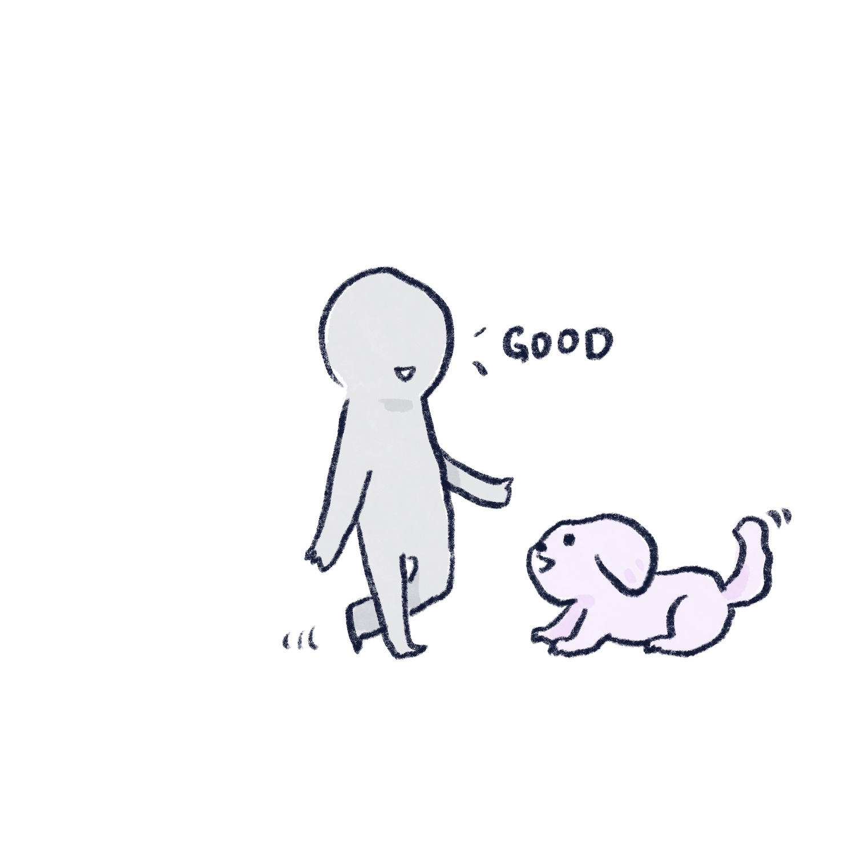 靠近狗狗的插畫