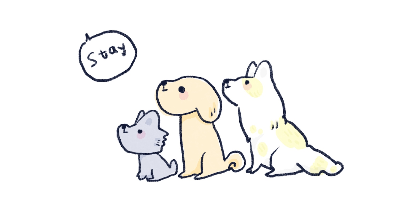 練習等待指令的狗狗插圖