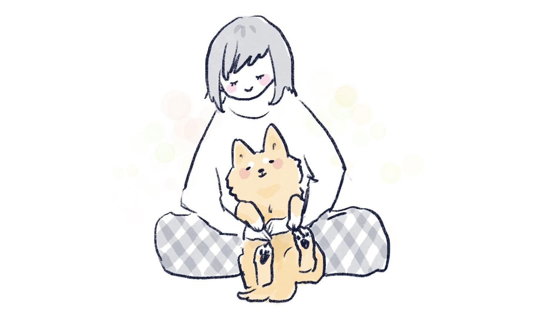 信任主人的狗狗的插畫